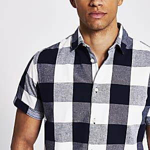 Jack and Jones - Wit en marineblauw geruit overhemd