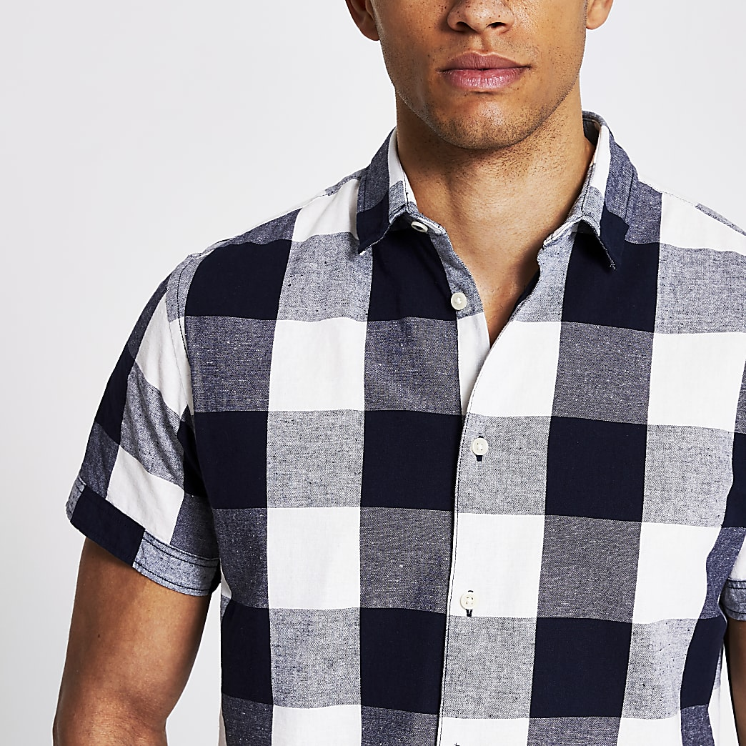 Jack and Jones white and navy check shirt