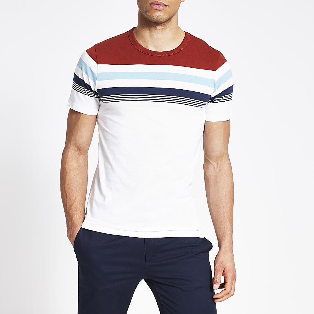 Jack and Jones white block stripe T-shirt