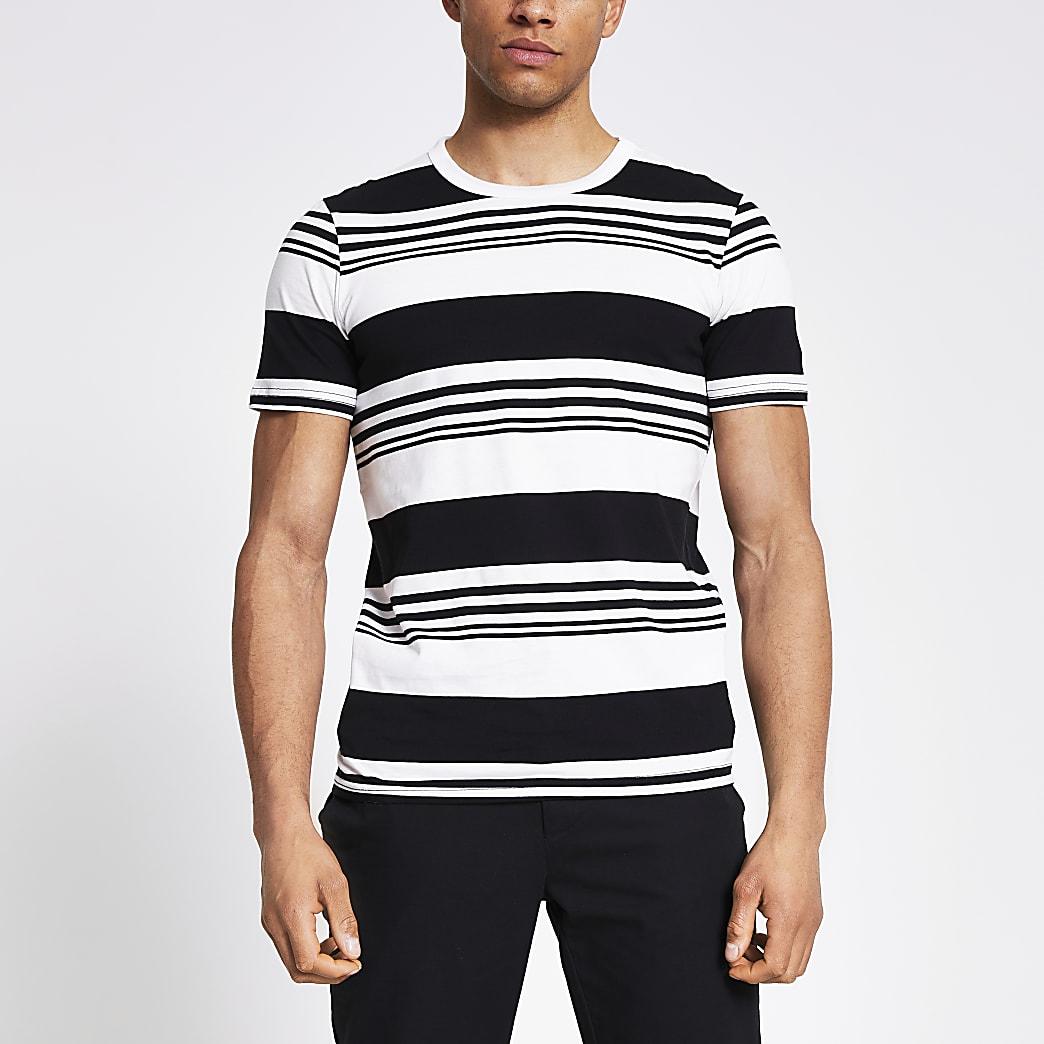 Jack and Jones – T-shirt rayé blanc
