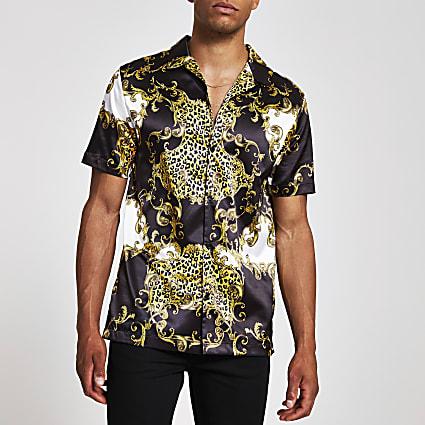 Jaded London black baroque regular fit shirt