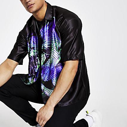 Jaded London black dragon regular fit shirt