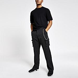 JadedLondon– Pantalon cargo noirà rayures fines
