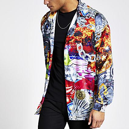Jaded London black print regular fit shirt