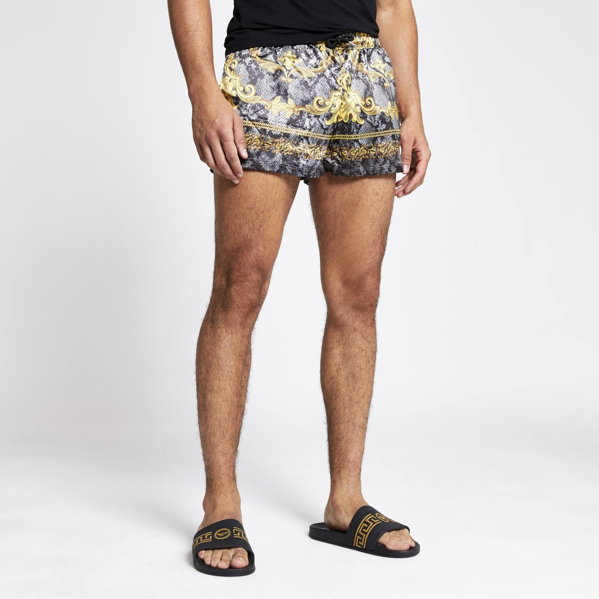 Jaded London - Grijze barokke short met slangenprint
