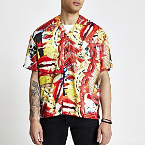 Jaded London orange print regular fit shirt