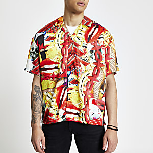 Jaded London – Orangefarbenes Hemd im Regular Fit mit Print