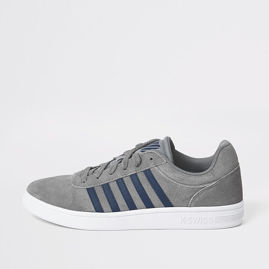 K-Swiss- Grijze suède sneakers met strepen