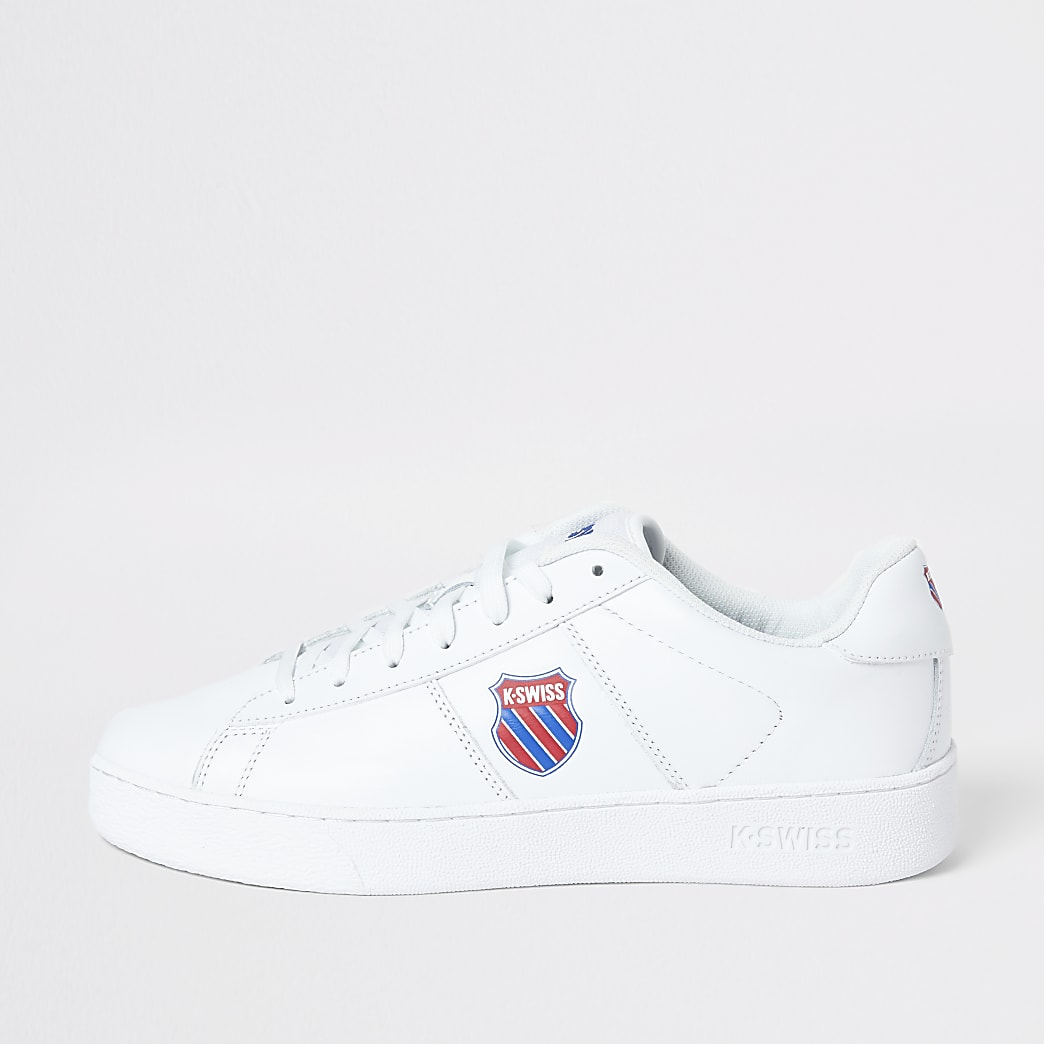 K-Swiss white leather badge lace-up trainers