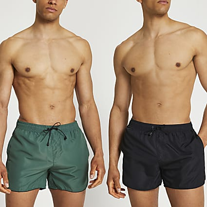 Khaki & black swim shorts 2 pack