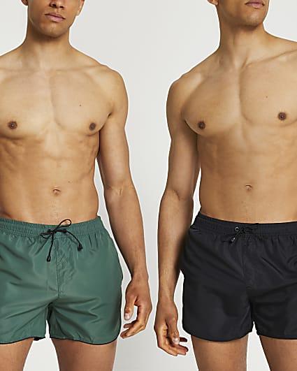 Khaki & black swim shorts 2 pack