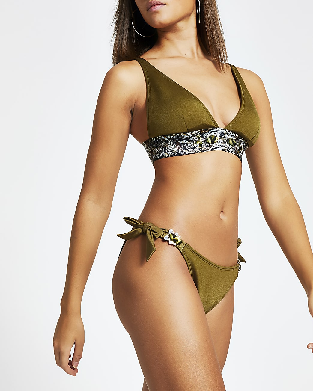 Khaki  jewel tie side bikini bottoms