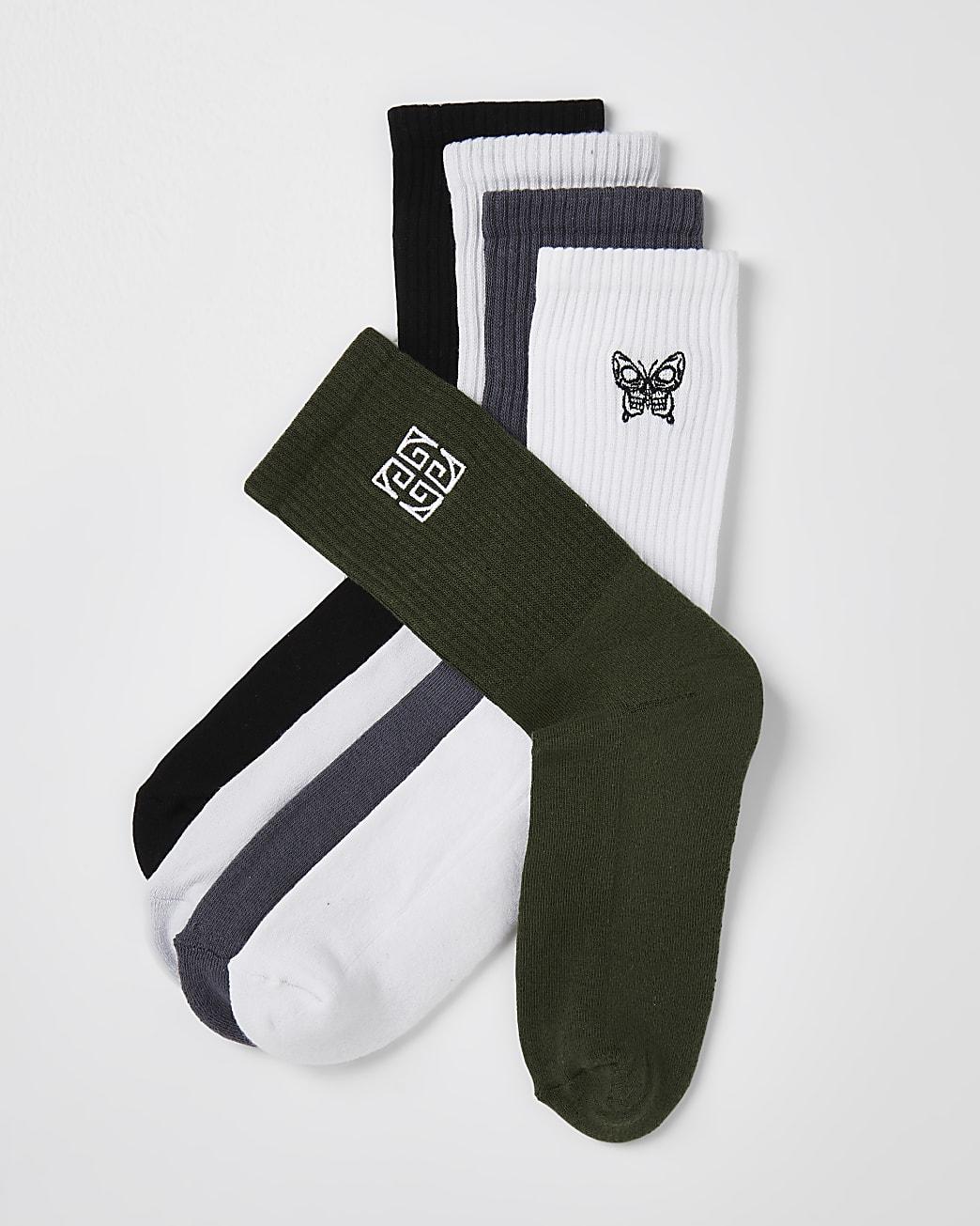 Khaki & white Greek socks 5 pack