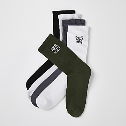 Khaki & white Greek socks 5 pack