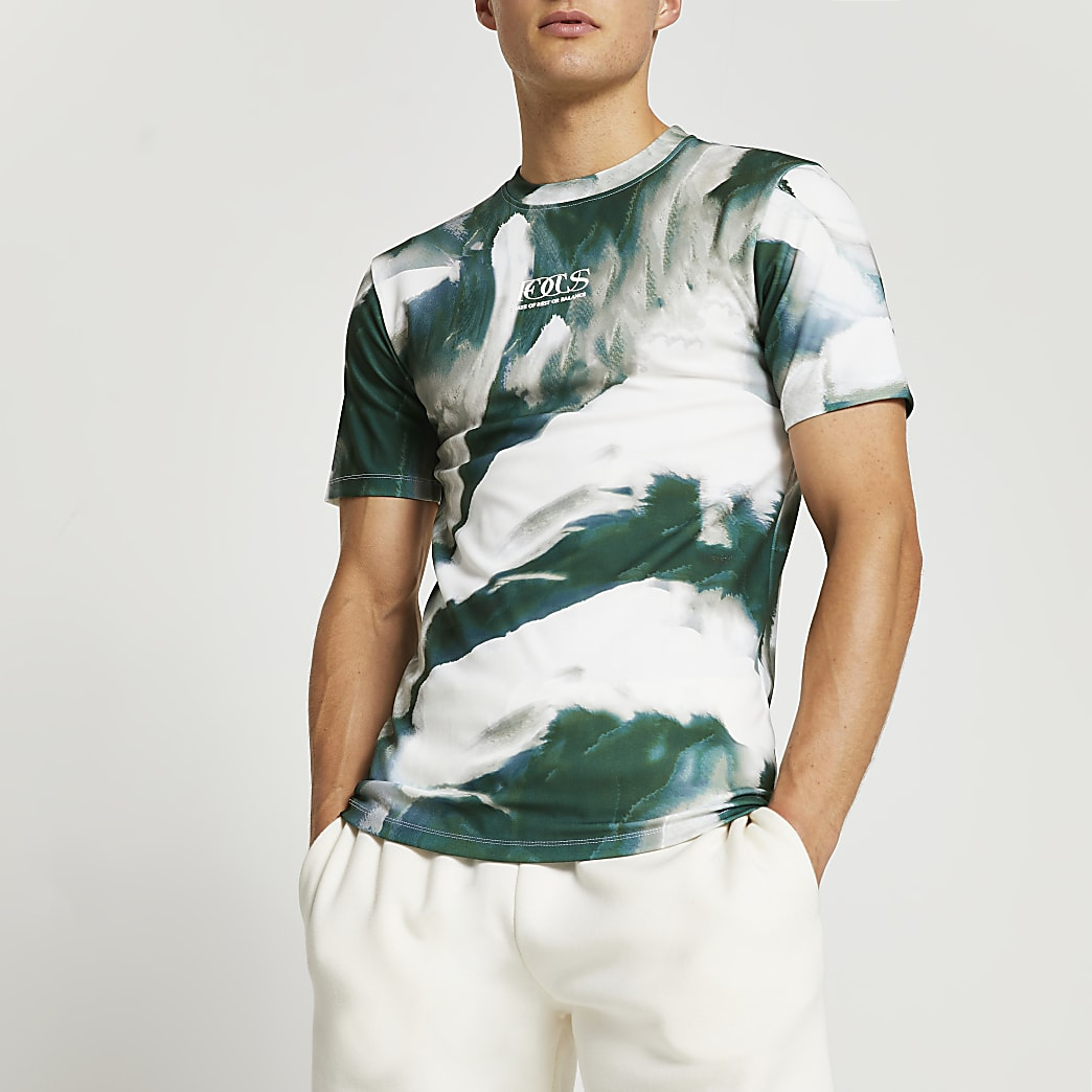 Khaki abstract print muscle fit t-shirt