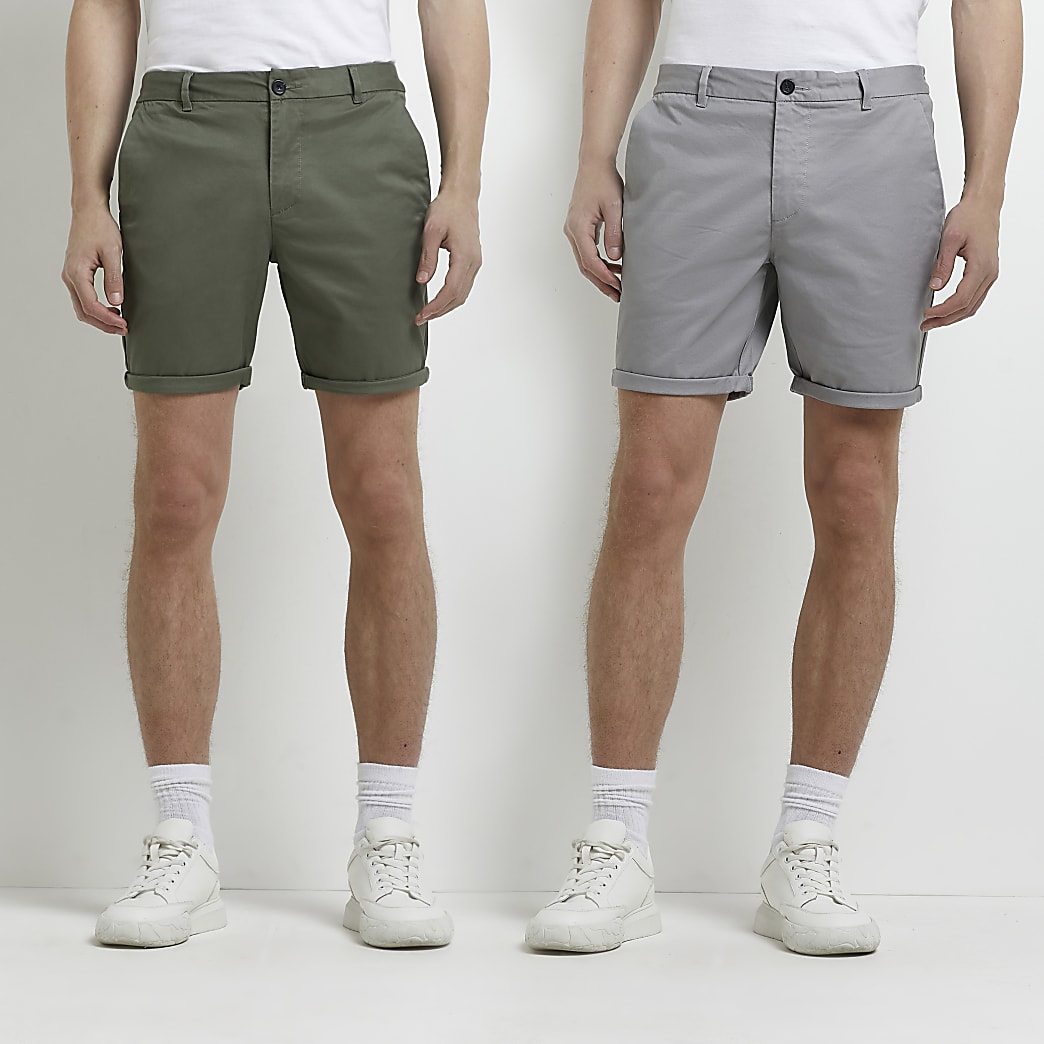 Khaki and grey slim fit chino shorts 2 pack