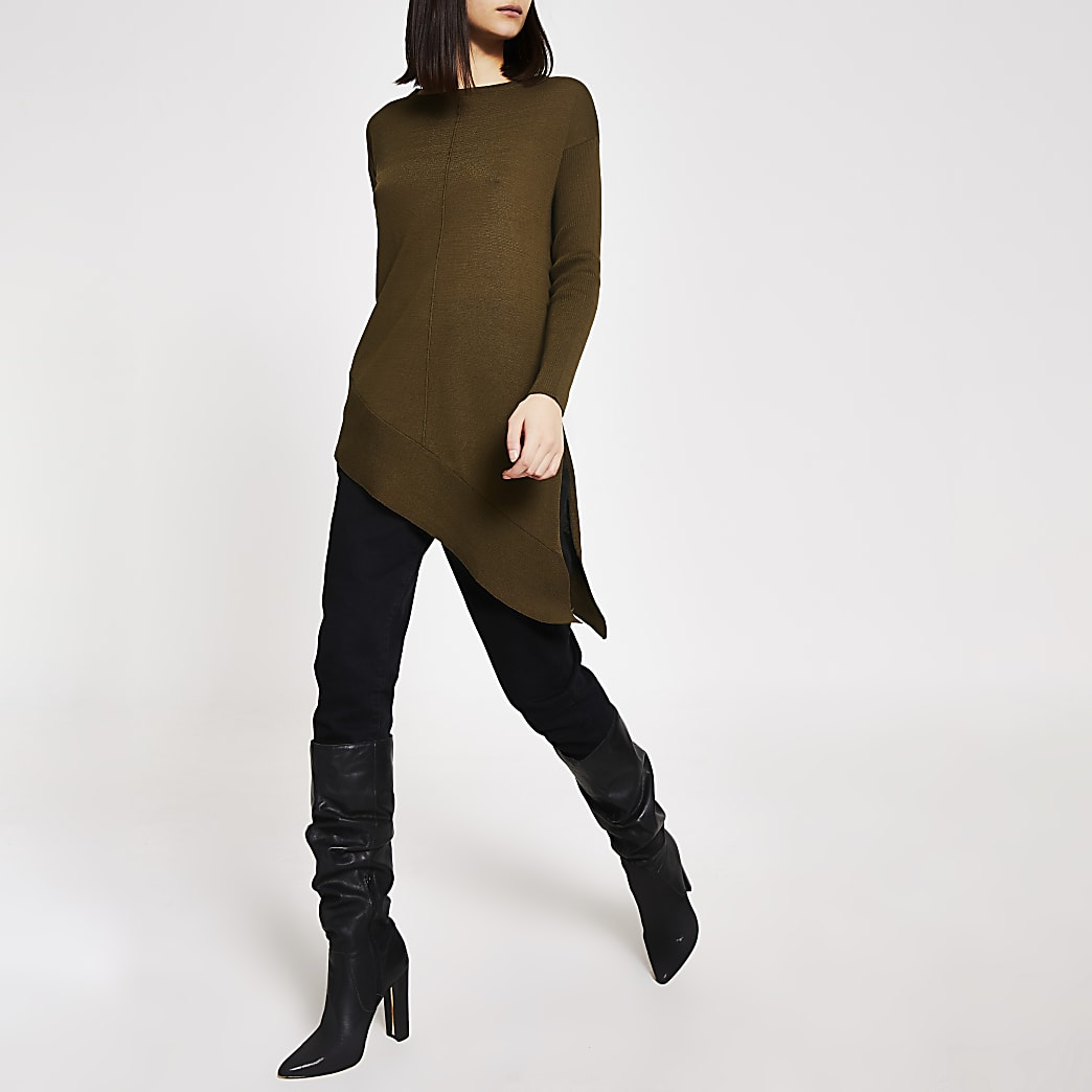 Khaki asymmetric long sleeve knitted jumper