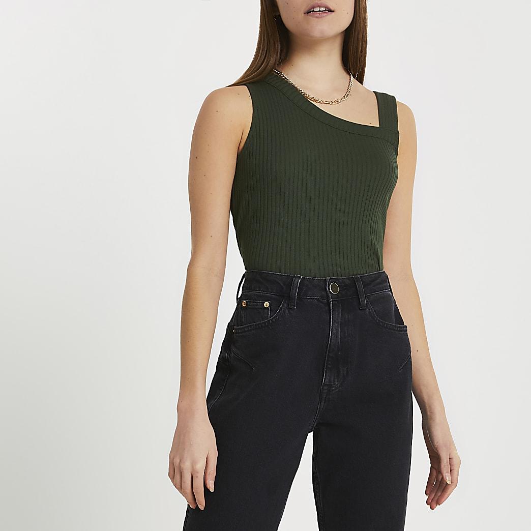 Khaki asymmetric ribbed vest
