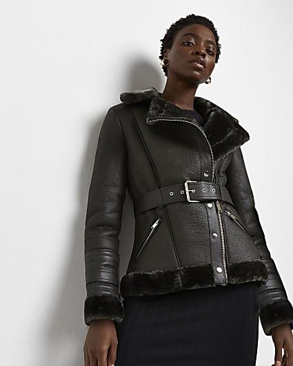 Khaki belted aviator coat