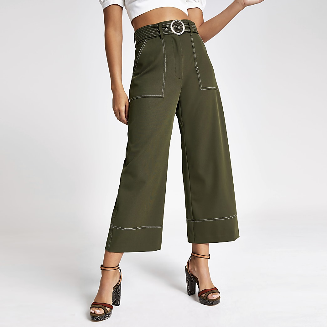 Khaki belted culottes