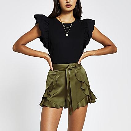 Khaki belted flippy short