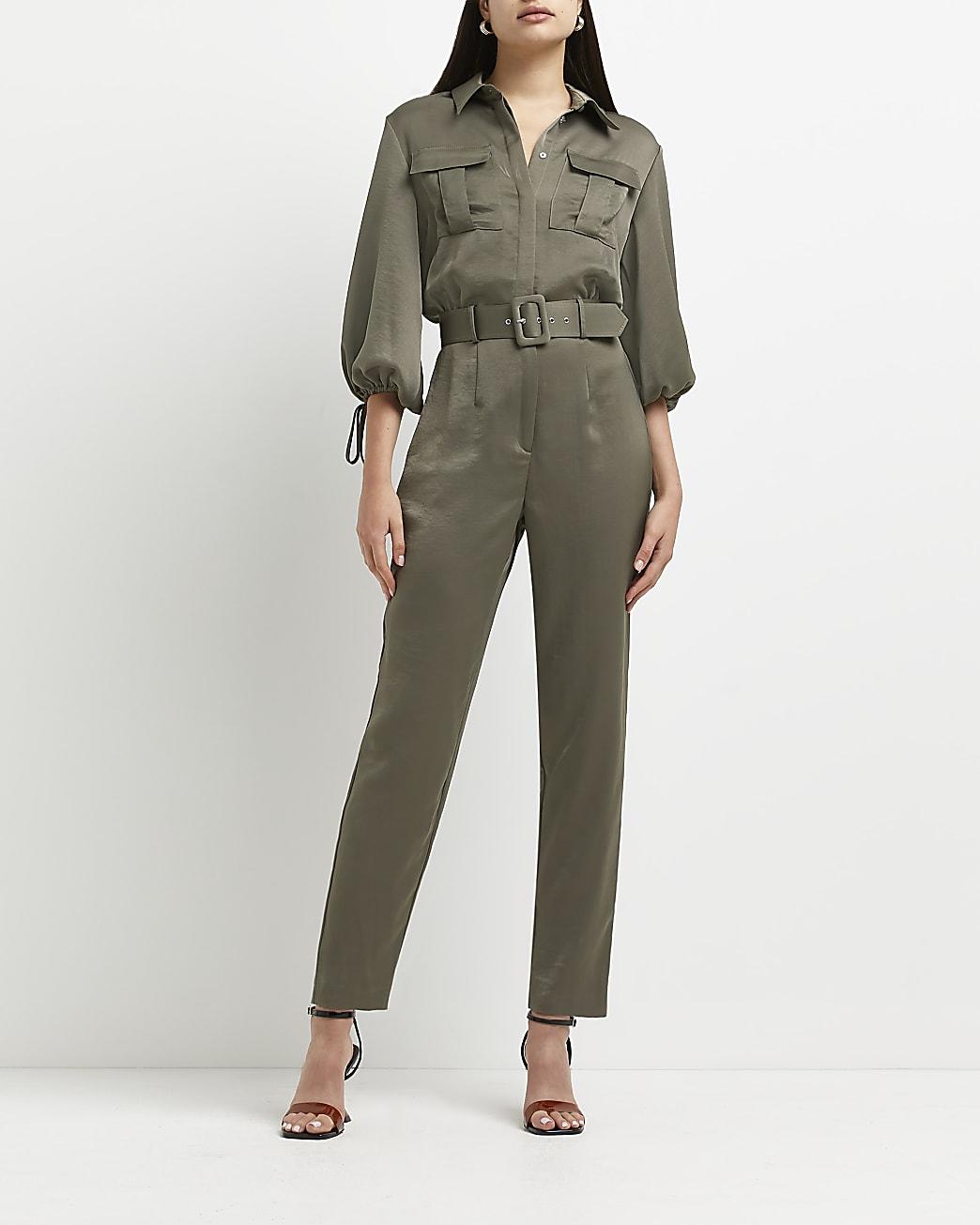 Khaki belted jumpsuit