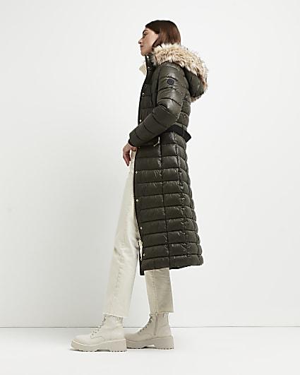 Khaki belted longline puffer coat