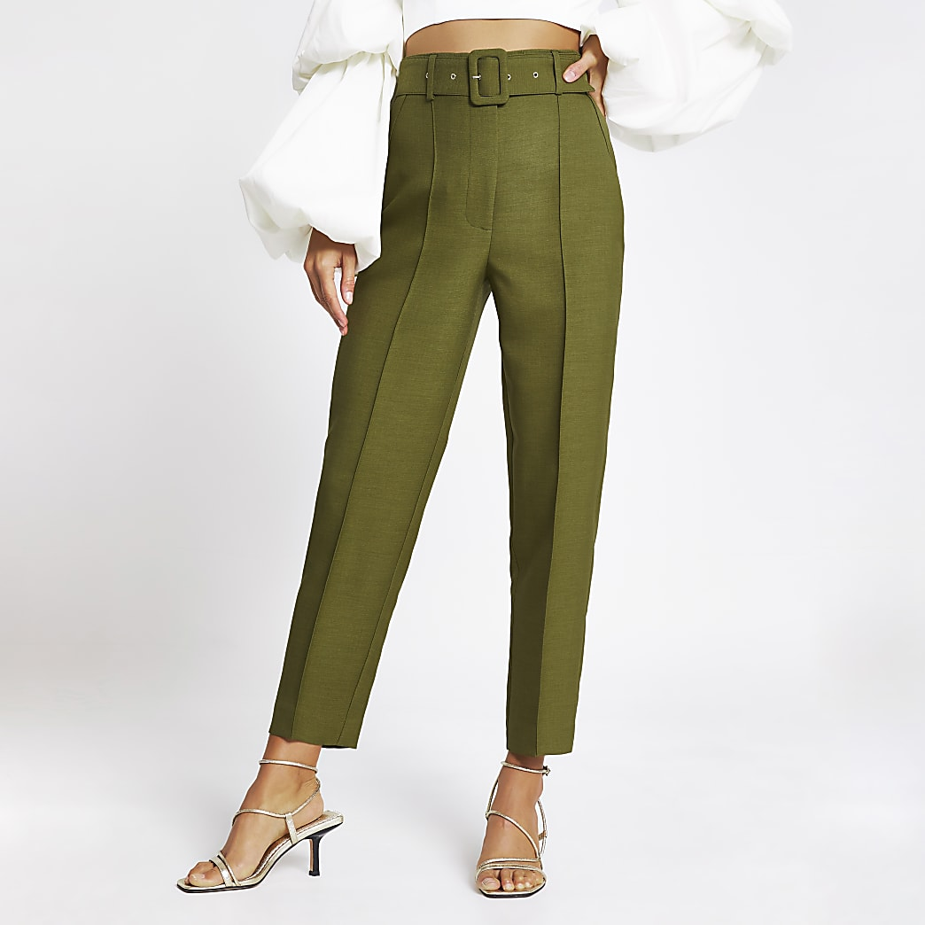 Khaki belted peg trousers