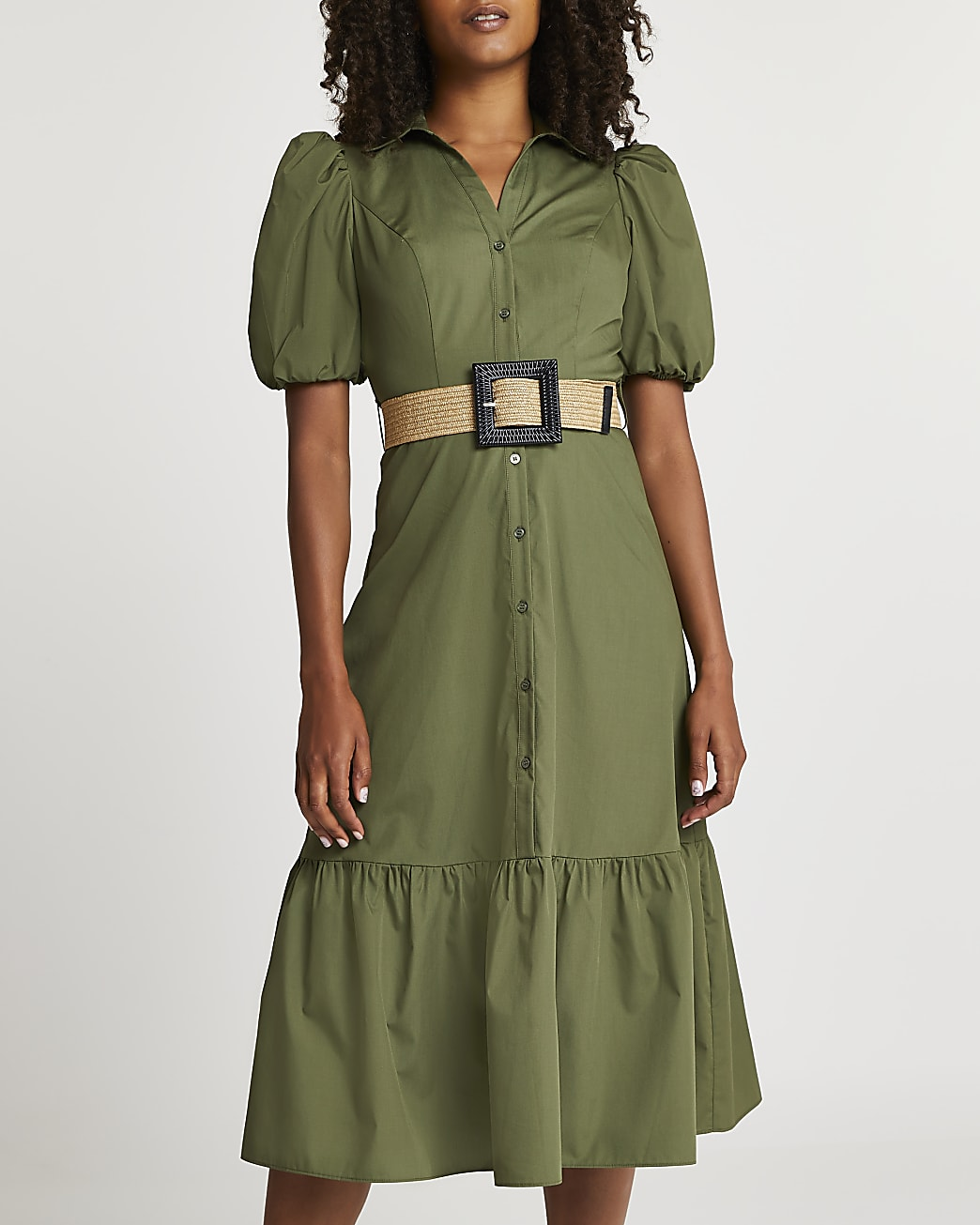 Khaki belted puff sleeve frill midi dress