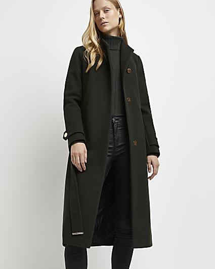 Khaki belted wrap coat