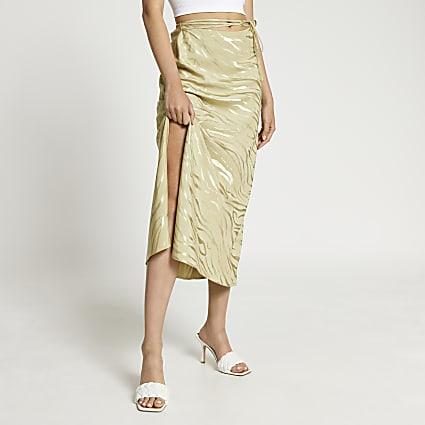 Khaki bias tie waist maxi skirt