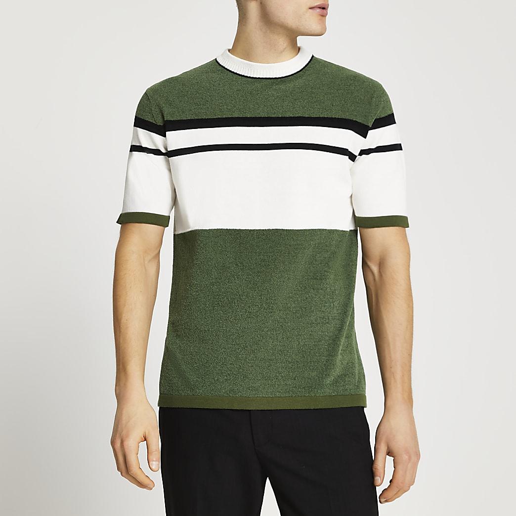 Khaki blocked towelling slim fit t-shirt
