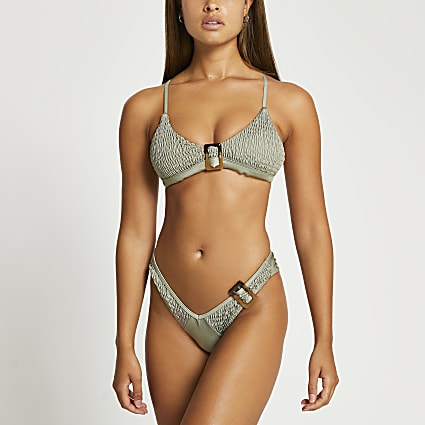 Khaki buckle detail bikini briefs