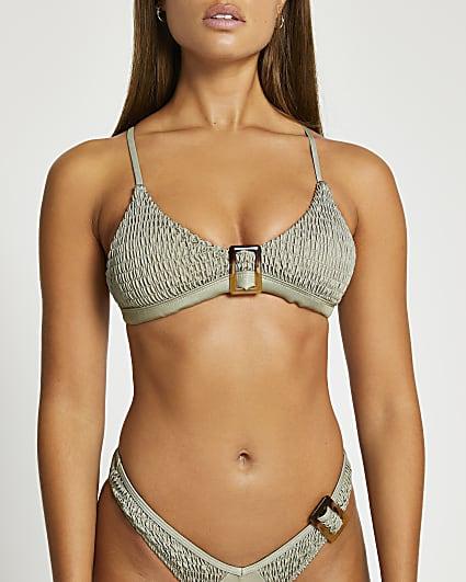 Khaki buckle detail triangle bikini top