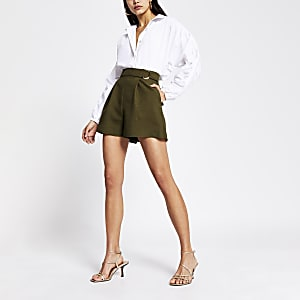 Khaki buckle side structured shorts