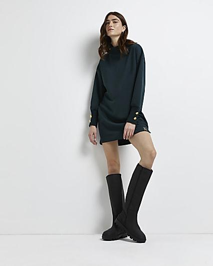 Khaki button cuff jumper dress