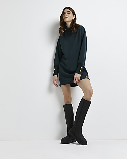 Khaki button cuff sweater dress