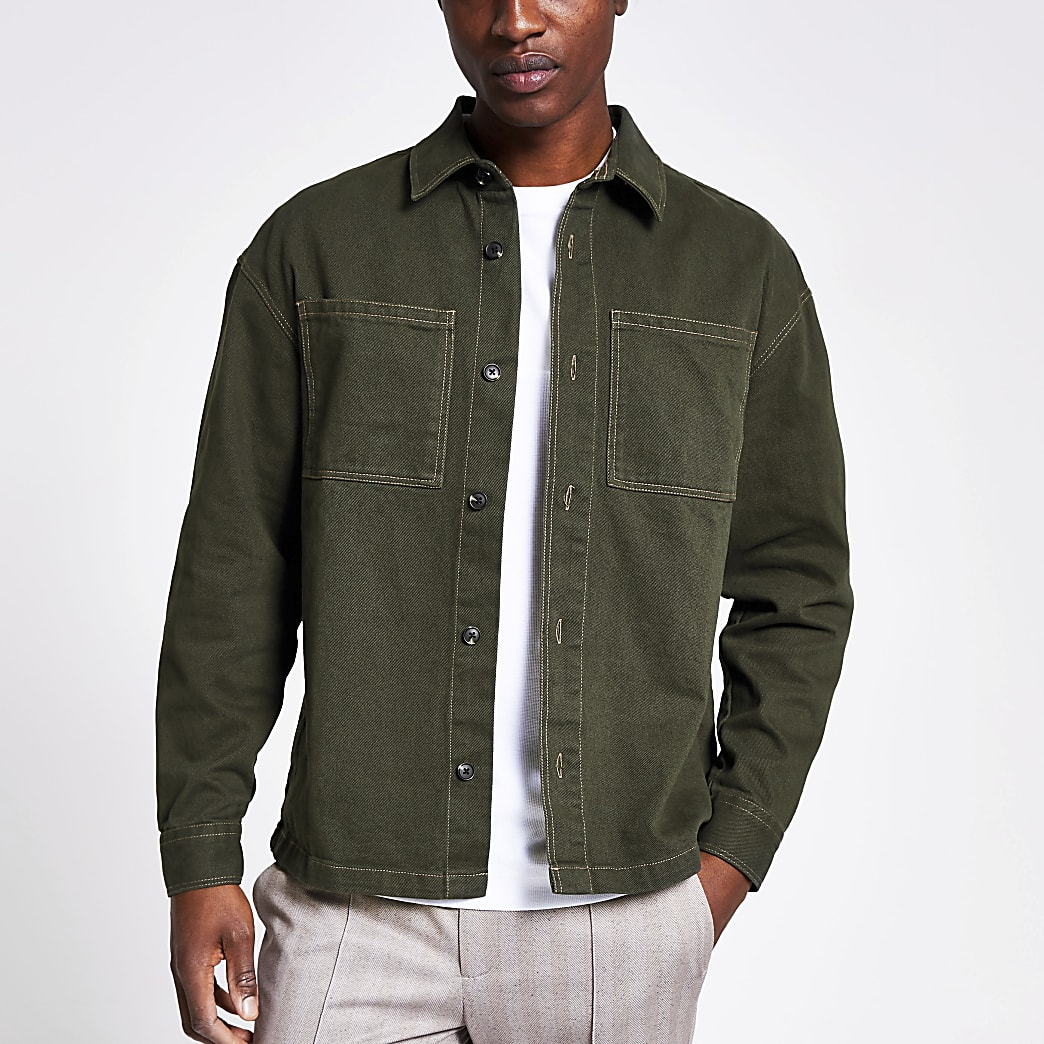 Khaki button front boxy fit overshirt