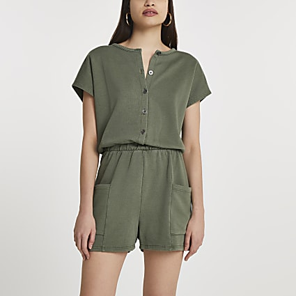Khaki button front playsuit
