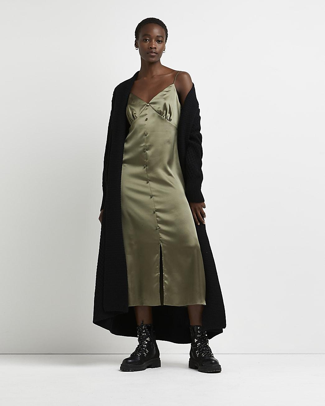 Khaki button front slip dress
