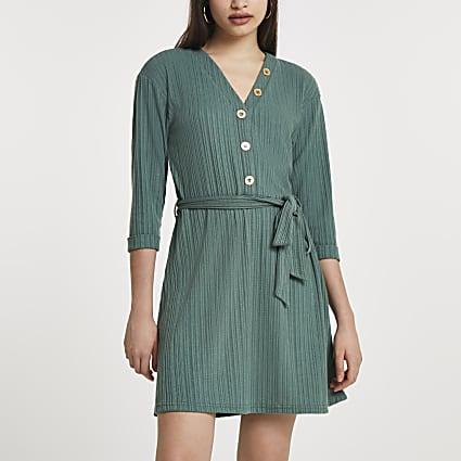 Khaki button through ribbed mini dress