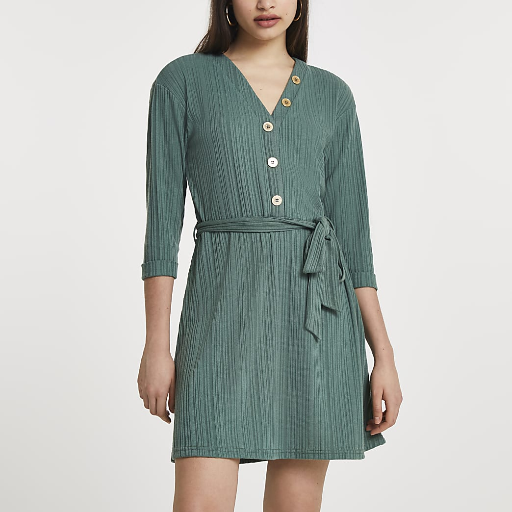 Khaki button through ribbed mini dress