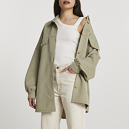 Khaki button up shacket
