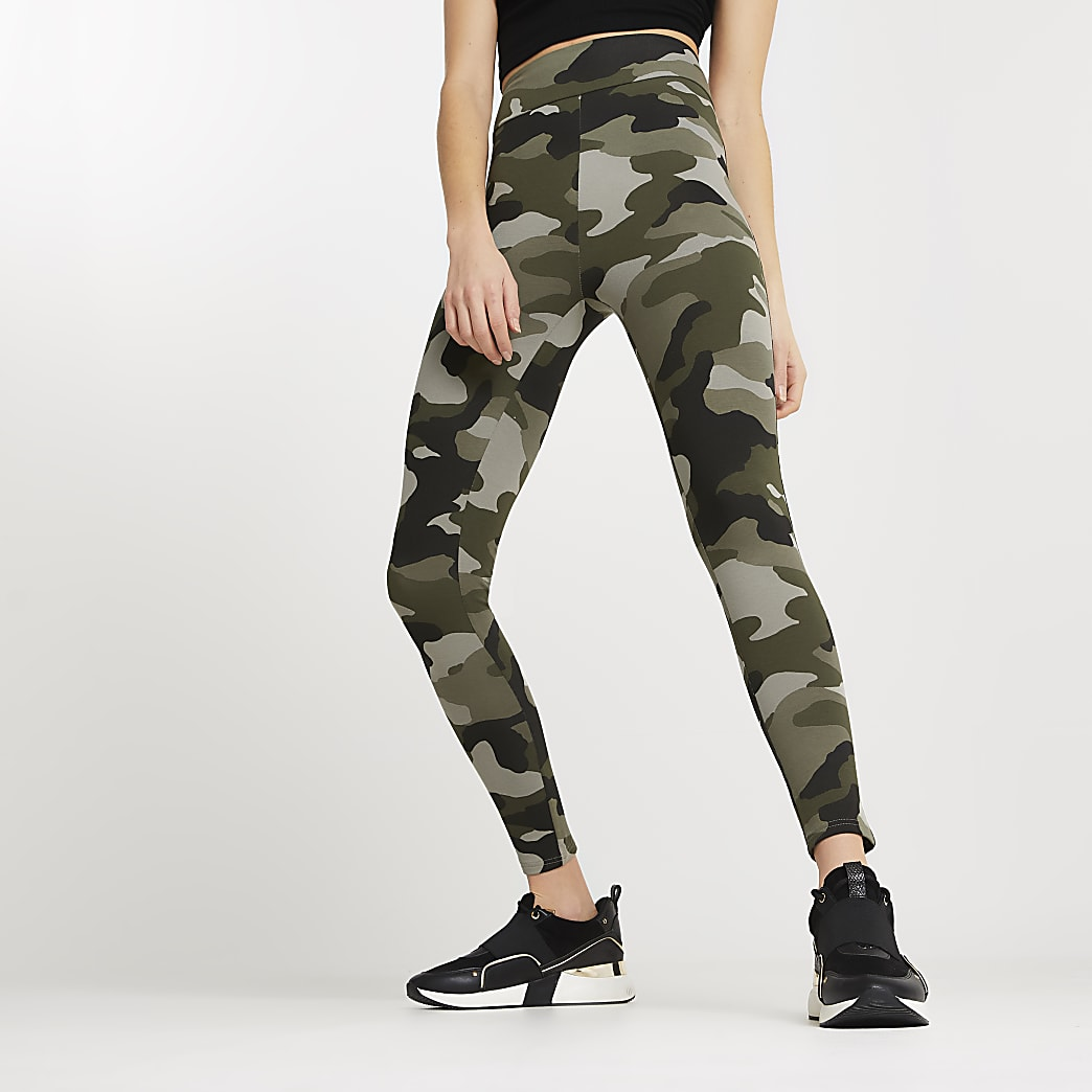 Khaki camo high waisted leggings