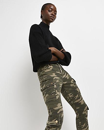 Khaki camo print bum sculpt cargo trousers