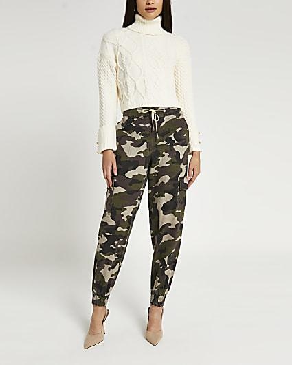 Khaki camo print cargo trousers