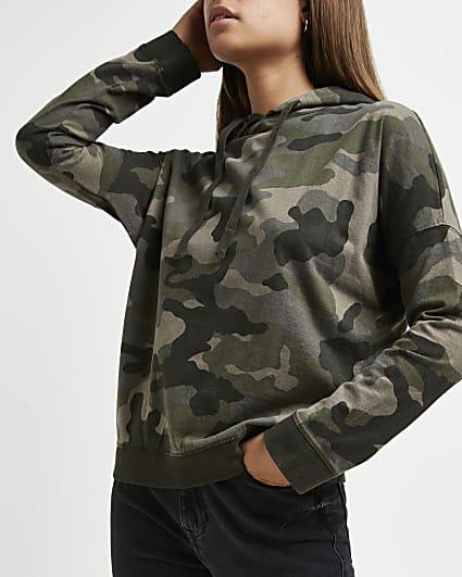 Khaki camo print hoodie