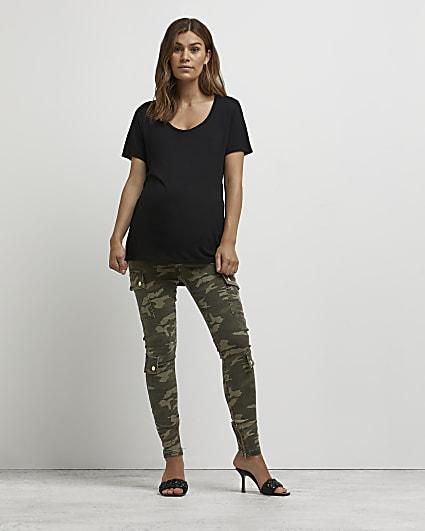 Khaki camo print maternity cargo trousers