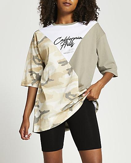 Khaki camo print oversized t-shirt
