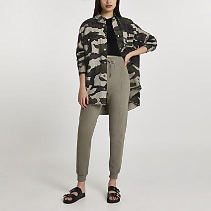 Khaki camo print shacket